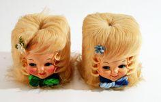 (2) Vtg DOLL HEAD TISSUE COVER Kleenex retro mid century modern dispenser 50s
