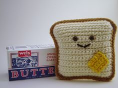The Original Mr Toastee  Crochet Bread and Butter by yummypancake, $14.00  I love him so much