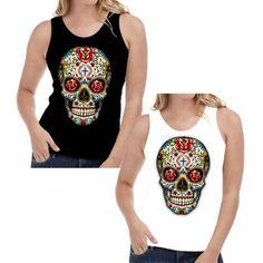 54ed86e31 Details about Velocitee Ladies Vest Sugar Tattoo Skull Rockabilly Fashion  Hardy Jerry W16553