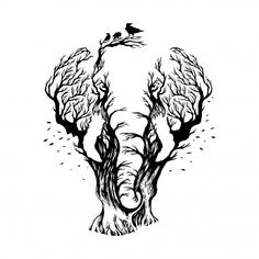 Negative space elephant with forest background Premium Vector Cool Art Drawings, Art Drawings Sketches, Animal Drawings, Drawing Animals, Illusion Kunst, Illusion Art, Elephant Illustration, Space Illustration, Elephant Tattoo Design