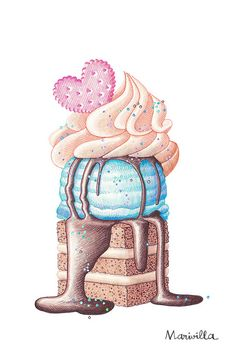 Illustration for Andrea Martinez Ice Cream Illustration, Dessert Illustration, Illustration Art, Cupcake Drawing, Cupcake Art, Cute Food Art, Cute Art, Desserts Drawing, Polychromos