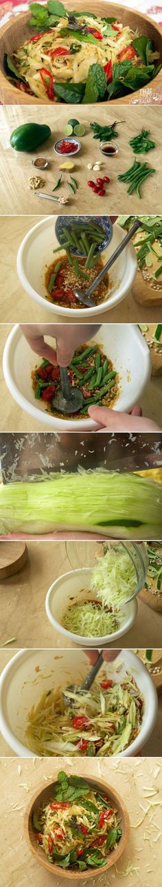 Diet Plan To Lose Weight : Coming from the northeastern Isaan region of Thailand som tam literally transla Papaya Recipes, Thai Recipes, Asian Recipes, Vegetarian Recipes, Healthy Recipes, Saveur Recipes, Cooking Recipes, Green Papaya Salad, Healthy Snacks