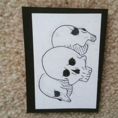 Three little skulls. Please refer to me if you share my artwork Broken Smile Sisters