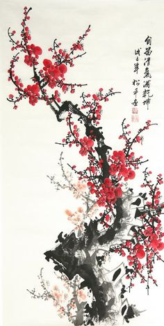 Chinese Plum Blossom, by Song Ping (Chinese) Sumi E Painting, Korean Painting, Japanese Painting, Chinese Brush, Chinese Art, Art Asiatique, Paintings Of Flowers, Chinese Painting Flowers, Chinese Flowers