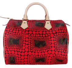 61558d85c2 Louis Vuitton Limited Edition 2012 Red Yayoi Kusama Monogram Canvas Town  Speedy 30 Bag!