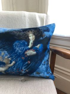 Dark Blue Sky Angel Lumbar // Art Pillow // Bedtime Pillow // Religious Pillow Blue Pillows, Throw Pillows, Pillow Inserts, Pillow Covers, Blue Angels, Satin Fabric, Lumbar Pillow, Bedtime, Print Patterns