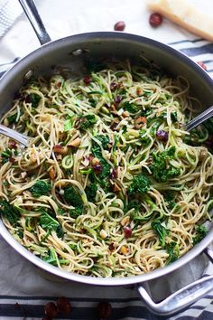 Whole-Wheat and Zucchini Spaghetti With Brown Butter, Hazelnuts, and Kale