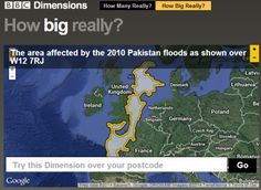 So often, we hear about big events, but we cannot fathom the size of them. A great web site from the BBC changes this issue dramatically. BBC Dimensions, a.k.a. How Big Really, allows you to superimpose any number of major news stories, including the War on Terror, the Gulf Oil Spill, etc., over any neighborhood you like. This site is an excellent teaching tool to help students understand the scale of major news events.