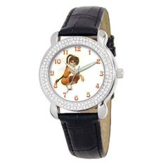 "Disney Kids' D2134S025 Tween Fawn ""Shimmer"" Black Leather Strap Watch Disney. $28.92. Water-resistant to 99 feet (30 M). Black leather strap with buckle. Watch fits a girl or a woman. Quality and precise Japanese-quartz movement. Fawn fairies dial surrounded by a Rhinestone-accented bezel and covered by Durable mineral crystal"