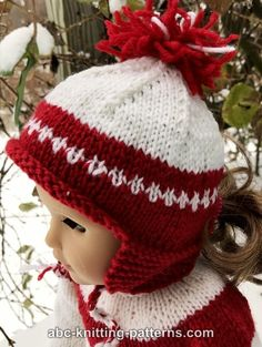 ABC Knitting Patterns - American Girl Doll Red and White Earflap Hat ABC Knitting Patterns - American Girl Doll Red and White Earflap Hat Knitting Dolls Clothes, Crochet Doll Clothes, Knitted Dolls, Girl Doll Clothes, Doll Clothes Patterns, Doll Patterns, Girl Dolls, Knitted Hats, Knitting Patterns