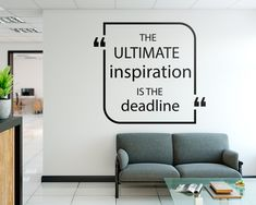 The Deadline Inspiration Office Decor is ideal for quickly and easily transform any office workspace. Office Signs, Office Decor, Home Office, Office Wall Decals, Office Walls, Office Branding, Office Interiors, Textured Walls, Decoration