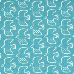 turquoise bird Canvas fabric Kokka Japan 1