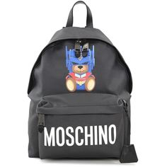 Moschino Moschino Transformer Faux-Leather Backpack (£590) ❤ liked on Polyvore featuring bags, backpacks, nero, moschino backpack, fake leather backpack, faux leather bag, zippered faux leather backpack and vegan leather backpack