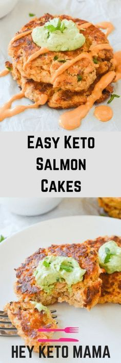 These easy keto salmon cakes are a fun and flavorful low carb meal without any hassle. Great for quick lunches and easy meal prep!   heyketomama.com