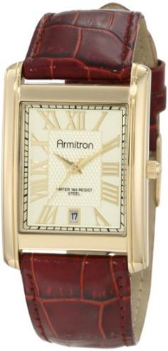 Armitron Men's 20/4819CHGPBN Leather Strap Gold-Tone Brown Date Function Watch Armitron. $33.75. Water-resistant to 165 ft.. Champagne, textured dial with gold-tone applied roman numerals at all hours except vi. Gold-tone framed date function window at the vi hour position. Polished gold-tone rectangle case. Brown genuine leather strap with croco-grain finish and silver-tone buckle finish. Save 44% Off!