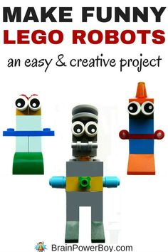 Oh my gosh, this is so much fun. Make your own Funny LEGO Robots! It is a really creative project for kids to do.