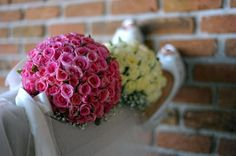wedding, bouquet, pink, bride