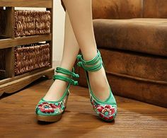 Women's Old Peking Floral Strappy Embroidery Platform Wedges
