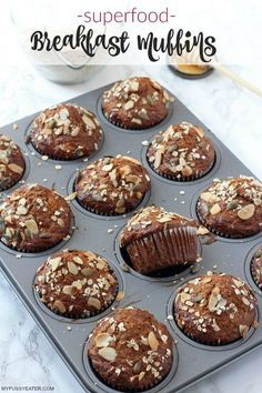 Healthy breakfast muffins packed with superfood ingredients such as manuka honey, chia seeds and flaxseed. Super easy to make and they store well in the fridge or freezer too.