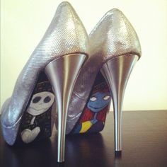 Nightmare Before Christmas Silver Pumps by jenuineB on Etsy