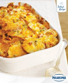 Bring a scoop of cheesy goodness to tonight's dinner with Easy Cheesy Scalloped Potatoes. This easy recipe mixes your ingredients together in a flash, so there's no time wasted. It's just make and bake!