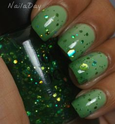 Gradient...Sinful Colors Olympia and Sinful Colors Exotic Green with Forever 21 Love & Beauty Green Glitter