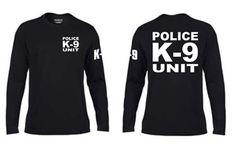 K9 Unit  POLICE Black Moisture Wick Long Sleeve Duty T-Shirt