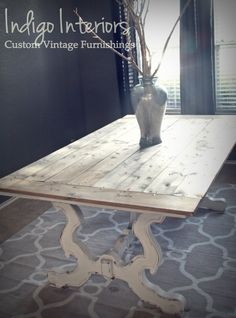 Custom Order Gray and White Farmhouse Style Dining Table with Wood Planks