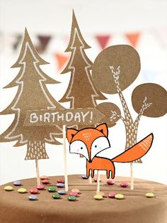 Tortendeko Wald Cake decoration on the theme of forest for the birthday cake. Woodland Party, Forest Party, Woodland Cake, 21st Birthday Decorations, Kids Party Decorations, Party Themes, Animal Birthday, Baby Birthday, Birthday Cake