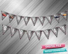 Cars 3 Happy Birthday Banner - INSTANT DOWNLOAD