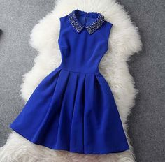 Dress in Blue with Pearl Beaded Collar