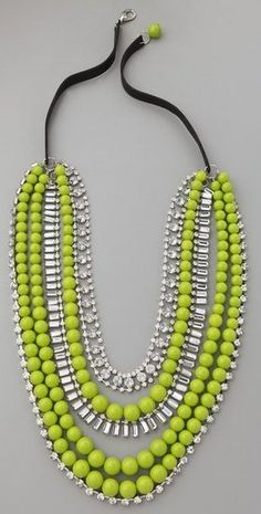 My neon-green obsessed niece would luv this Adia Kibur Multi-Strand Neon Bead & Crystal Necklace.