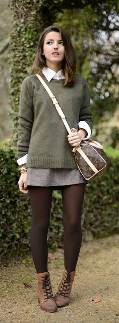Add some prep to your fall wardrobe. Try layering a collared shirt with a green sweater!
