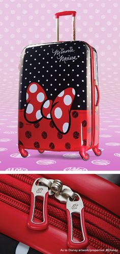 """Minnie Mouse Spinner Hardside Red Bow 21"""" and 28"""" by American Tourister: The official luggage of Walt Disney World Resort and Disneyland"""