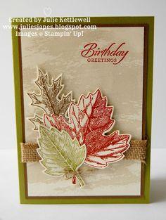 Stampin' Up! UK Order Online 24/7 - Julie Kettlewell - SU - Vintage Leaves stamp set and the matching Leaflets framelits