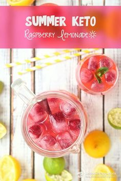Refreshing summer lemonade pairs perfectly with limes and fresh raspberries. Delicious sugar-free beverage that is keto-friendly!