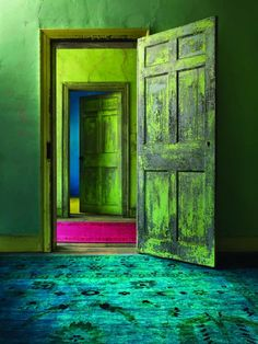 abc-design-studio whoa! bright green, turquoise rug and a little dash of bright pink