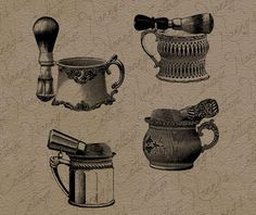 Antique Barbershop Shaving Mugs Clip Art by nannyscottage on Etsy, $2.00