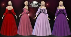 The Sims 4 Simeana dress by jomsimscreations Sims 4 Mods Clothes, Sims 4 Clothing, Sims Mods, Barbie Sims, Medieval Dress Pattern, Sims Medieval, Sims 4 Dresses, Sims4 Clothes, Sims 4 Characters