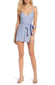 Fresh and modern, this striped romper with a wrapped bodice and leggy shorts checks off all the boxes for your perfect party or date-night look.