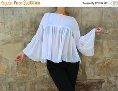 SALE ON 20 % OFF White Maxi Top Maxi Chiffon Blouse White