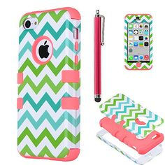 iPhone 5c case, iPhone 5C case Cute, ULAK Fashion Chevron Pattern Hybrid High Impact Combo Hard PC and Soft Silicone Case for iPhone 5C Heavy Duty Shockproof Chevron Pattern w/ Stylus Screen Protector (Green/Blue Wave+Water Red) ULAK http://www.amazon.com/dp/B00NU18EE0/ref=cm_sw_r_pi_dp_QAkCub04HDXT2