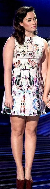 Who made  Demi Lovato's print dress?
