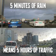 5 Minutes of Rain means 5 hours of traffic #dubai #rain #traffic