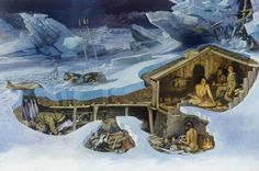 An Inupiat family is unaware of their homes imminent collapse Archaeology Prehistory architecture Fantasy Map, Medieval Fantasy, Primitive Survival, Underground Homes, Survival Shelter, Winter House, Mountain Man, Outdoor Survival, Ancient History