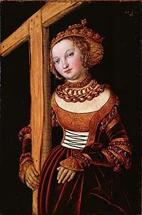 A portrait of St Helena a dress in the fashion of the day, holding up a wooden cross against a black background