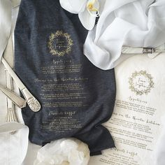 """SAMPLE DAY. The menu. Silk printed with gold ink. On cotton fabric. The cutlery. Hand-made in Jawa. Custom design. Because, why not. #bali #baliwedding #baliweddingplanner #baliweddingstylist #silkprint #cutlery #themenu #weddingstationery #onlyinbali"" Photo taken by @paper_diamonds on Instagram, pinned via the InstaPin iOS App! http://www.instapinapp.com (06/20/2015)"