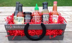 Yummy CA Hott Sauce Gift Basket Created by HorseShoeFever.  BBQ, Western Home Decor. Wedding, Rustic, Outdoor, Gift, Birthday, Country, Western, Barn, Horseshoe, Cowgirl, Crate, Basket, Decorations, Christmas, Housewarming Gift, Ranch, Cabin, Horses, Food, Steaks, CA, Themed, Camping, Dinner