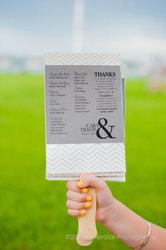 Gray chevron wedding program + ampersand