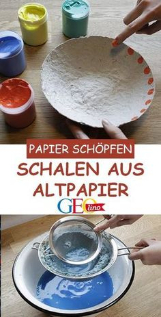 Scooping paper: Trays made from waste paper- Papierschöpfen: Schalen aus Altpapier Grab a few sheets of old newspaper and make beautiful bowls from old paper! GEOlino provides instructions for scooping paper. with children - Kids Crafts, Diy And Crafts, Craft Projects, Arts And Crafts, Hero Crafts, Homemade Crafts, Creative Crafts, Paper Clay, Diy Paper
